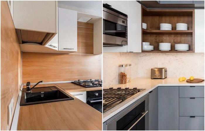 Столешница и фартук из одного материала помогают создать в комнате единое рабочее пространство