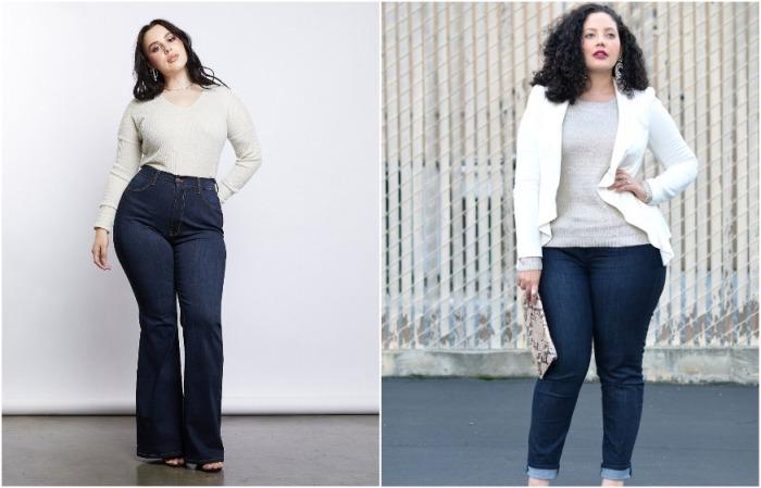 В приоритете темные джинсы клеш, но и скинни не запрещены
