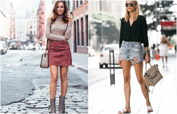 Короткая юбка или шорты должны сочетаться с закрытым верхом