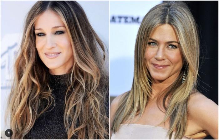 Большая часть волос может быть светлая или темная, главное - пряди у лица