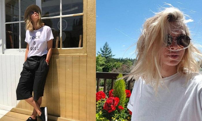 Вера Брежнева в простой, но стильной одежде. / Фото: twimg.com