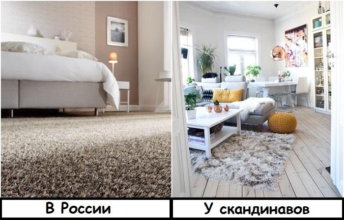 Скандинавы используют небольшие ковры, а не на всю комнату