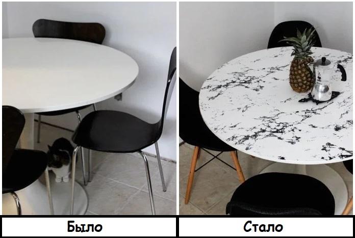 Благодаря пленке стол выглядит намного интереснее