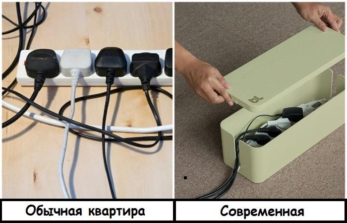 Чтобы провода не лежали на виду, их стоит спрятать в бокс