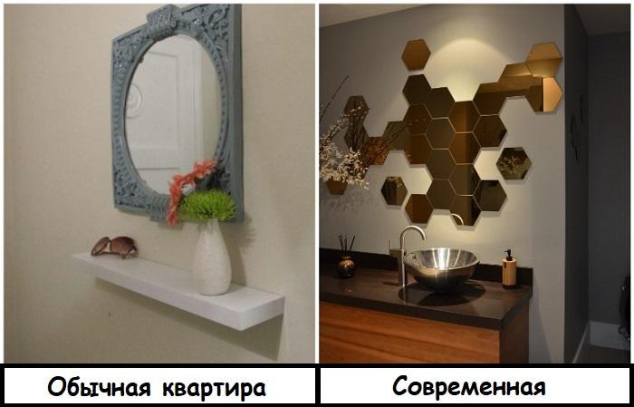 Зеркало из многоугольников добавляет интерьеру изюминку