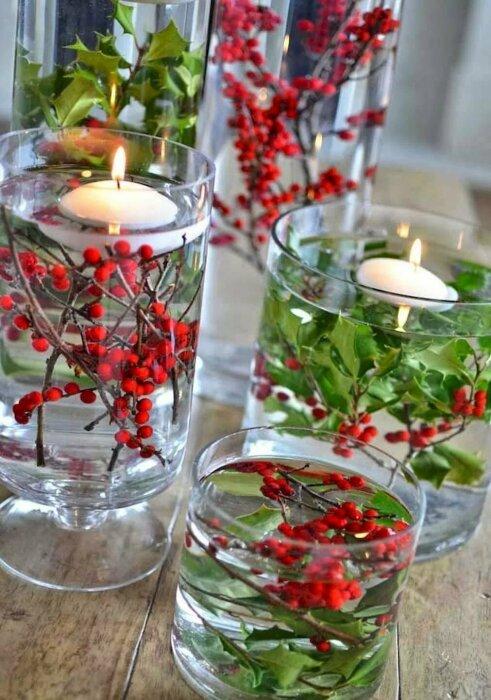 Плавающие свечи выглядят очень элегантно. / Фото: valis-mebel.ru