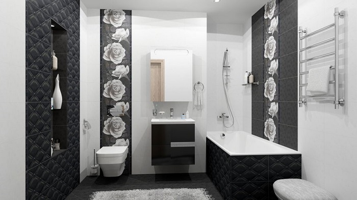 Черный цвет красиво смотрится в ванных комнатах больших размеров. / Фото: vana-info.ru