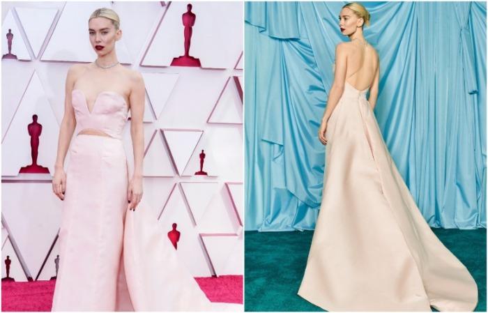 Ванесса Кирби в нежно-розовом платье от Gucci