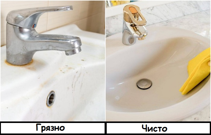Раковину нужно мыть регулярно, чтобы сверкала