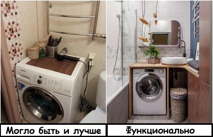 Если на вес золота каждый метр, ставьте стиральную машину рядом с раковиной