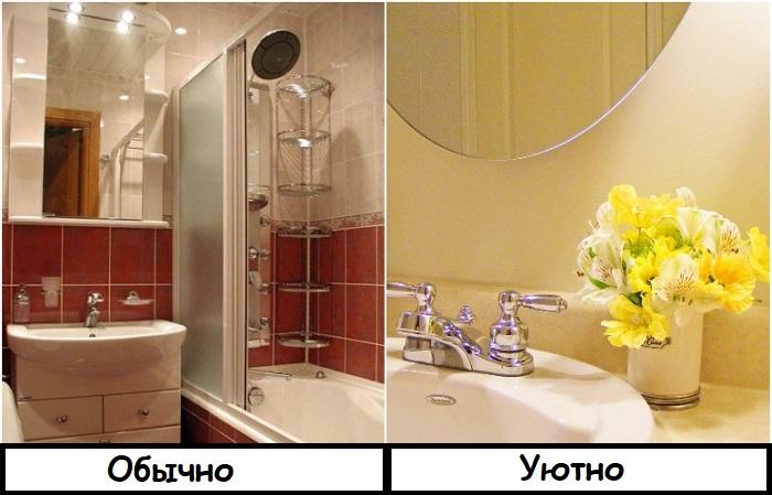 Уюта ванной добавит букет цветов