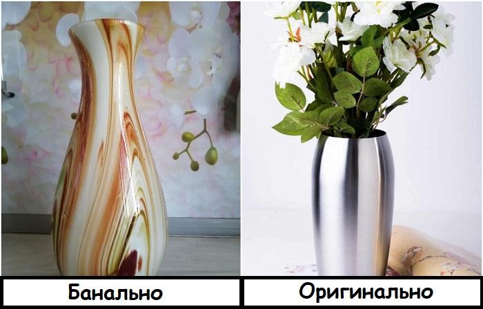 Металлические вазы выглядят интересно
