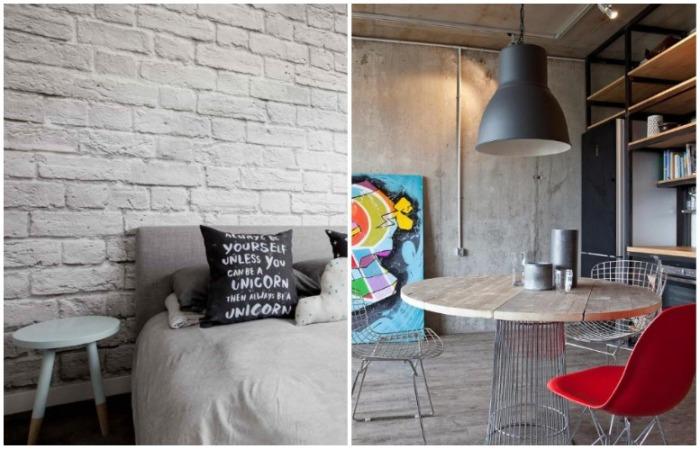 Для лофта характерно наличие бетонных и кирпичных стен