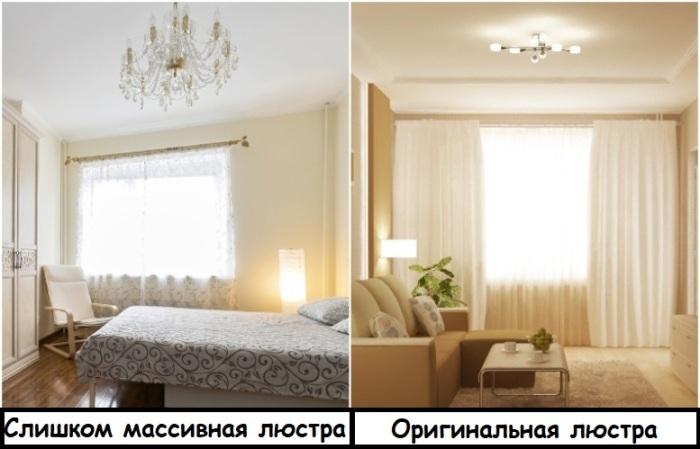 Массивные люстры лучше заменить на варианты с оригинальным дизайном