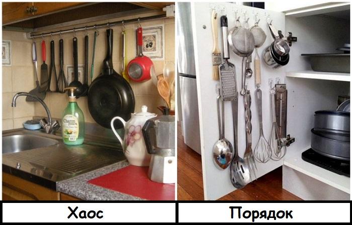 Кухонные девайсы можно спрятать на внутреннюю сторону дверцы