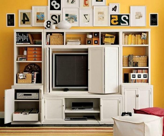 Телевизор можно спрятать в стеллаже за специальной загородкой. / Фото: vgostinoy.ru