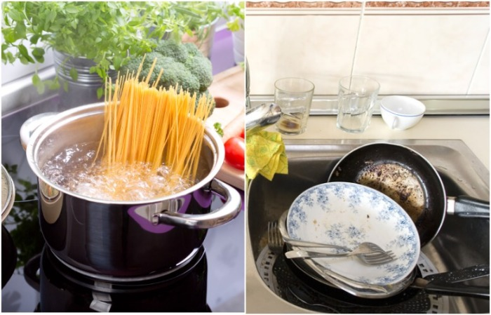 В воде из-под макарон нужно замочить посуду, чтобы убрать жир