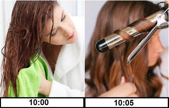 Нельзя крутить волосы сразу после мытья