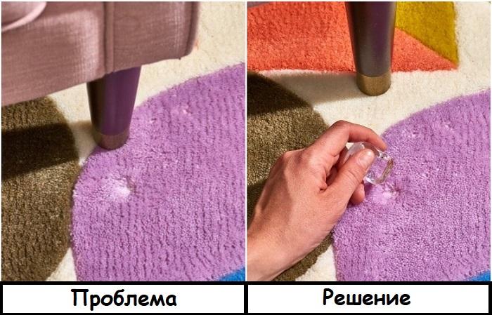 Вмятины на ковре можно устранить с помощью кубика льда