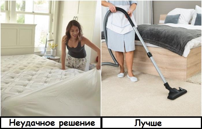 Если снять постельное белье, пыль осядет на матрасе