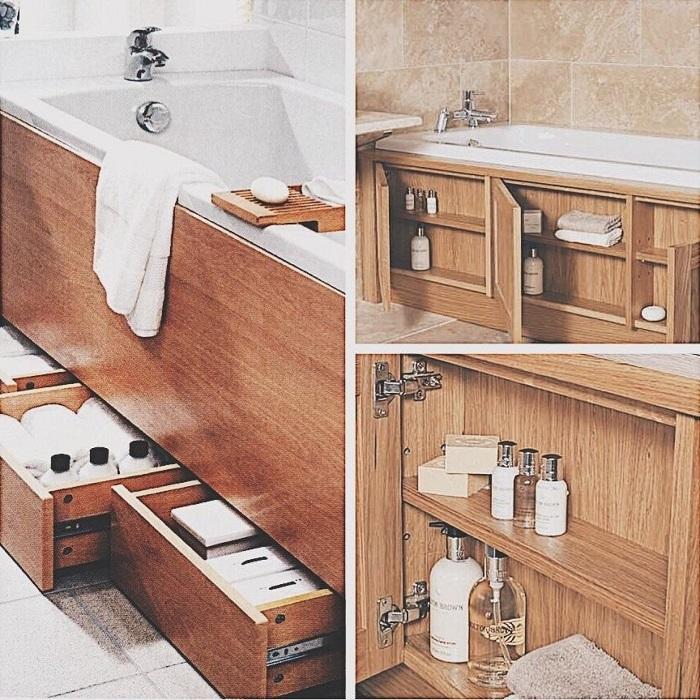Чтобы оборудовать место под ванной полками и ящиками, нужно купить экран. / Фото: vshkaf.ru