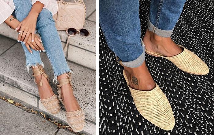 Плетеные шлепки и босоножки идеально сочетаются с джинсами. / Фото: y-jenchina.ru