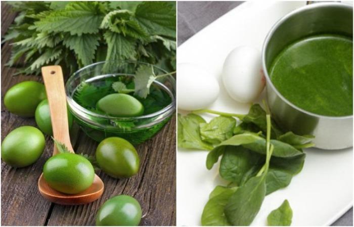 Крапива и шпинат сделают яйца насыщенно зелеными