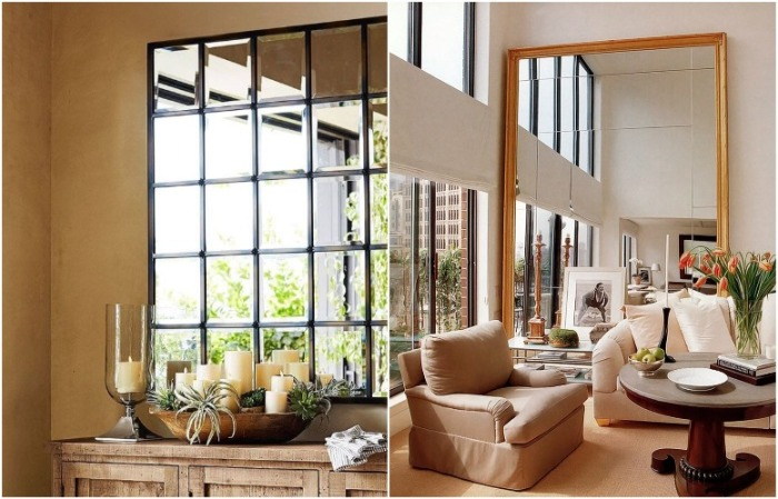 Зеркало может отражать вид из окна или красивый интерьер