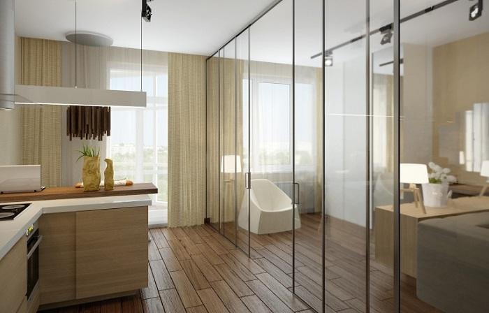 Зеркальная стена на кухне стирает границы. / Фото: fb.ru