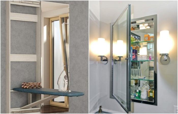 За зеркалом может прятаться шкаф или гладильная доска