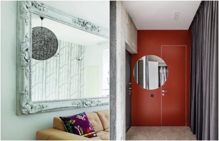 Зеркало может располагаться на двух поверхностях или в нем может отражаться люстра