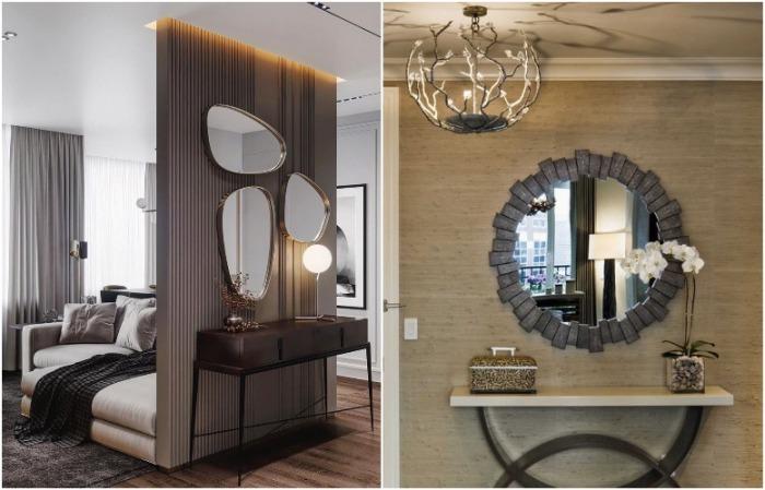 Зеркало может быть оригинальной формы или в нестандартной раме