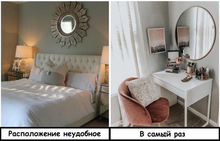 Зеркало в спальне лучше вешать над туалетным столиком, а не над кроватью