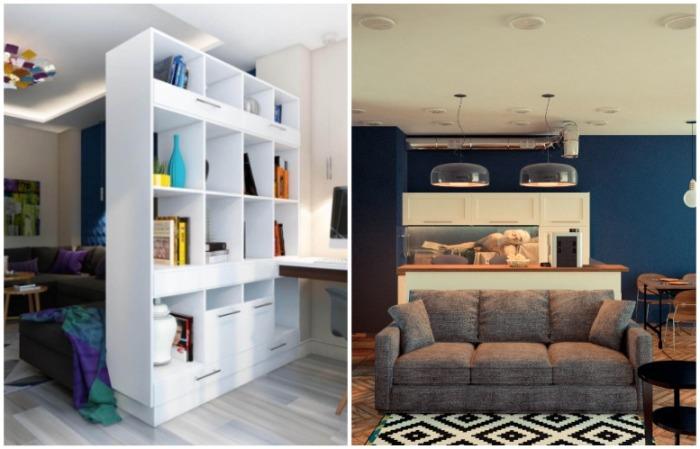 Для зонирования можно использовать имеющуюся мебель
