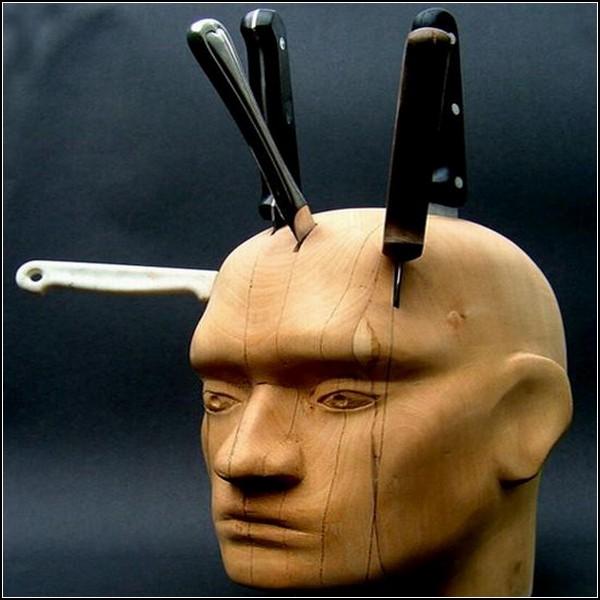Подставка для ножей: деревянная голова
