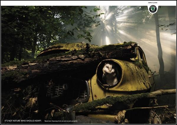 Креативная реклама машин. Сдавайте старые авто и запчасти в утиль