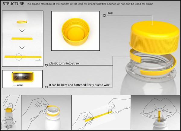 Утилитарная крышка от пластиковой бутылки: кольцо-соломинка