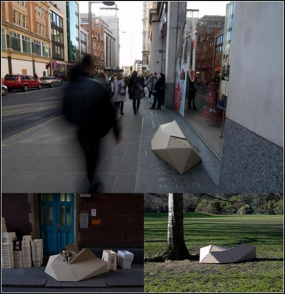 Картонный приют для бездомных людей: дом-оригами Cocoon