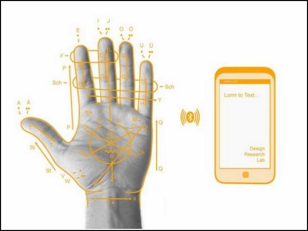 Телефон-перчатка на алфавите слепоглухонемых