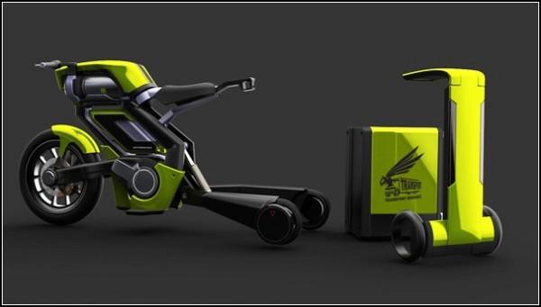 Мотоцикл доставки с отстегивающимся багажником