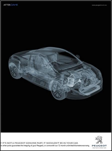 Креативная реклама машин. Автомобиль под рентгеном