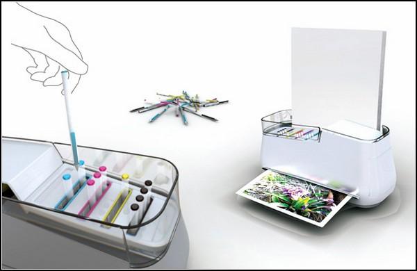 Домашний принтер с разноцветными ручками