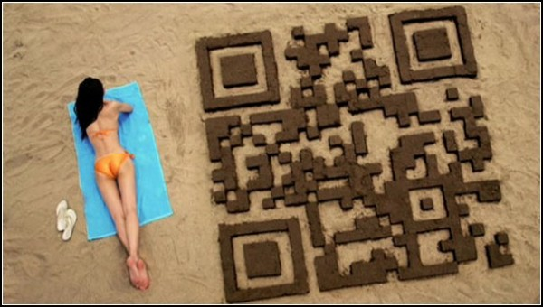 Двухмерный штрихкод из песка