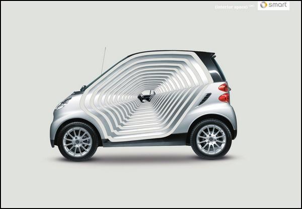 Креативная реклама машин. Авто, уходящее в бесконечность
