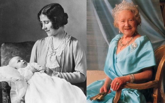 Елизавета Боуз-Лайон с маленькой Елизаветой II на руках и кольцом с сапфиром на пальце. Справа – кольцо с жемчужиной.