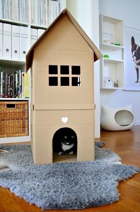 Домик для кота своими руками из коробки картонной 548