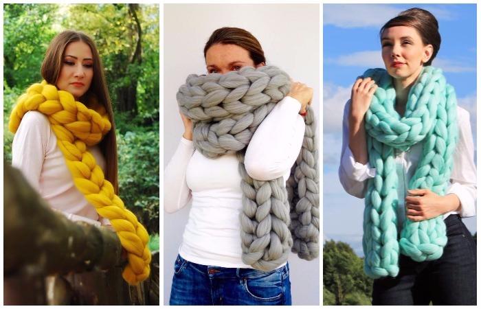 «Вяжем» модный шарф без спиц.