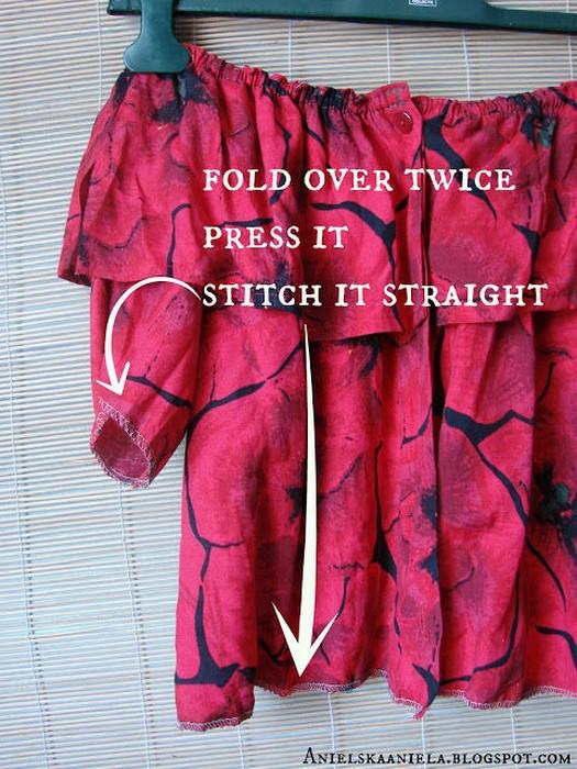 Как самостоятельно сделать актуальный топ с оборкой и открытыми плечами из старой рубашки