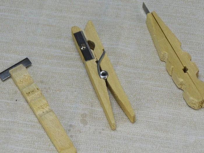 Как сделать мини-набор инструментов из прищепок и старой точилки