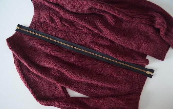 Как сделать актуальный свитер с молнией на спине за копейки